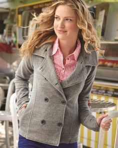 Junior Women's Premium Heavy-Textured French Terry Peacoat – ComfortWearables Available in Gunmetal Heather Gray (pictured), Brick Red, Charcoal, and Mustard #BackToSchool #FallFashion