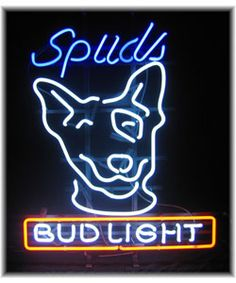 Bud Light Spuds MacKenzie neon sign    Displays Spuds MacKenzie above Bud Light text   Perfect sign for hanging indoors or at a bar, even in your homehttp://www.overstock.com/Home-Garden/Bud-Light-Spuds-MacKenzie-Neon-Bar-Sign/2488706/product.html?CID=214117 $243.99