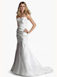 Trumpet/Mermaid Sweetheart Satin Sweep Train Ruched Wedding Dresses Shop uk