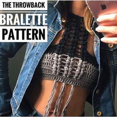 Crochet Pattern The Throwback Bralette Pattern. ****** This listing is for an INSTANT DOWNLOAD Crochet Bralette PATTERN PDF, not a finished Bralette********* Crochet Pattern to make Size:Adjustable to Fit any Women Can be made with any worsted weight yarn #4 Patterns are