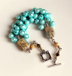 pearl wrapped bracelet beaded teal pearls wire by UniqueNecks, $55.00