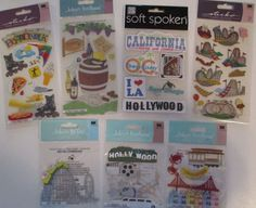 Scrapbooking Stickers Lot Jolee's Boutique & Sticko CALIFORNIA Hollywood  #JoleesBoutique #DimensionalEmbellishments