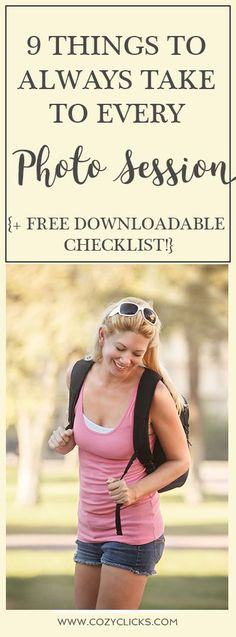 What photographers need to take to every photo session! A FREE checklist of what to bring with you on your photo shoots.  Don't ever forget  something when taking photos, get the free photo checklist here!