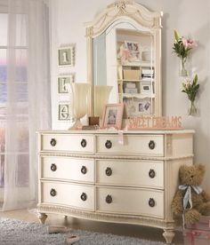 Ordinaire Emmas Treasures Six Drawer Dresser U0026 Vertical Mirror Combination With  Ribbon Motif By Lea Industries