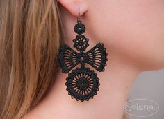 """Lace earrings """"Bows"""" The author's work.Stylish and textured, lightweight, hold their shape well. These unusual lace earrings will attract everyone's attention to her mistress. #Solena #SoLenaShop #Jewellery #Earrings #Dangle #Frivolite #victorian #wedding #ooak earrings #Gothic #evening #accessory #Lace #tatting #Bows #black #jewelry designer #urban #fashion"""