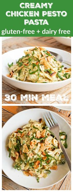Meet your new favorite healthy pasta recipe: 9 ingredient quick and simple creamy chicken pesto pasta with a coconut milk based sauce and extra flavor from toasted almonds fried garlic chips and fresh herbs. Gluten-Free and Dairy-Free. No heavy cream ne Chicken Pasta Recipes, Healthy Pasta Recipes, Healthy Pastas, Pesto Chicken, Creamy Chicken, Recipe Pasta, Mozzarella Chicken, Sauce Recipes, Drink Recipes