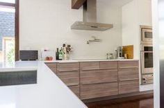 Ikea 39 S Sektion Cabinets In Brokhult Walnut Gray With White Counters Dream House Pinterest
