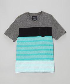 Love this Gray & Aqua Stripe Pocket Tee - Infant & Boys by Calvin Klein Jeans on #zulily! #zulilyfinds