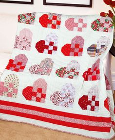 """""""Hearts Afire"""" by Marsha L. Downey (from The Quilter Magazine February/March 2013 issue)"""