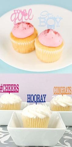 Personalize your cupcake toppers with your favorite word, hashtag, name or phrase. Wedding Cake Toppers, Cupcake Toppers, Baby Shower Announcement, Baby Girl Shower Themes, Gift Cake, Baby Shower Diapers, Reveal Parties, Diy On A Budget, Mini Cupcakes