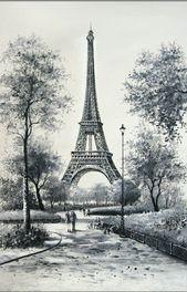 Pencil Sketches Landscape, Pencil Art Drawings, Landscape Drawings, Landscape Paintings, Drawing Sketches, Eiffel Tower Drawing, Eiffel Tower Painting, Eiffel Tower Art, Paris Drawing