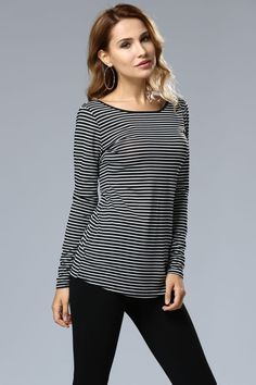 It looks like a casual color block striped tee. Yet the unique is the crisscross back design.