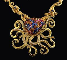 A beneficent leviathan, this spectacular 18k #gold #KaufmanndeSuisse Octopus Necklace evokes the bounty of the sea. Emblazoned with diamonds and fancy color sapphires, the cephalopod transitions seamlessly from pendant to brooch--a treasure from the deep, indeed.