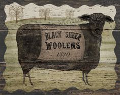 Black Sheep Woolens Original folk art 8x10 printable