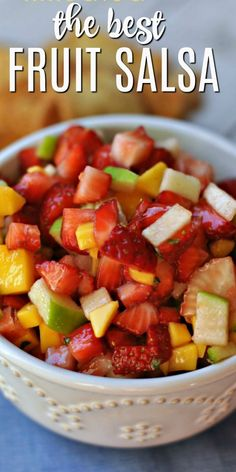 The Best and Easiest Fruit Salsa Dip Recipe – Shugary Sweets The Best and Easiest Fruit Salsa Dip Recipe- you'll love this easy fruit salsa with homemade cinnamon tortilla chips Best Fruit Salsa Recipe, Fruit Salad Recipes, Guacamole Recipe, Mexican Dessert Recipes, Appetizer Recipes, Sweets Recipes, Yummy Appetizers, Shugary Sweets, Best Fruits