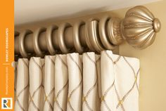 Discover Finestra Decorative Hardware as featured in our Dressing Room Roomscape. Available in 30 beautiful finial designs, 25 rich hand painted finishes with coordinating poles and accessories and ship within 5 business days. Featured: Kingston finial in Antique Silver. #rowleycompany #rowleyroomscapes #dressingroom #finestra #draperyhardware