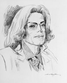 A pencil sketch portrait of the late Michael Jackson by David Lloyd Glover