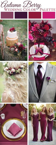 Autumn Berry Wedding Color Palette | LinenTablecloth Blog