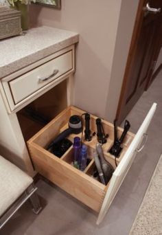 Master Bathroom Ideas: Organize all your hair needs in one organized drawer. Salon Styling Center - Schuler Cabinetry - Futura Home Decorating Bathroom Organization, Bathroom Storage, Small Bathroom, Bathroom Faucets, Bathroom Cabinets, Makeup Organization, Master Bathrooms, Hair Product Organization, Organization Ideas