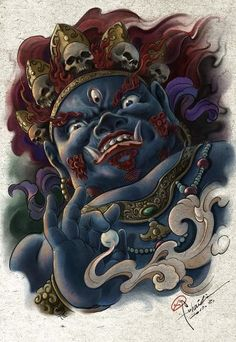 In China, every Chinese traditional pattern is a lot of legend, the Oriental culture long formed moral, I often re-thinking, the visual differences of East and West and what kind of place.   I painted Buddhist law enforcement, his grim face behind the guardian of our true soul, fragile but pure.