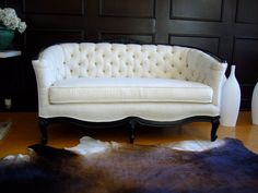 Tufted White Linen Sofa by twentynineten on Etsy, $2500.00.  I don't want this couch, I NEED it.