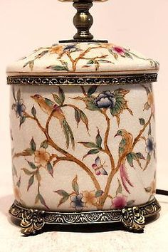 Unique Oval Floral Porcelain Table Lamp with Brass Rim