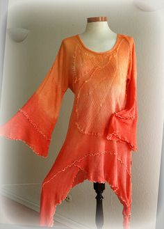 Morning Sunlight Orange - dress tunic with hand dyed fabric linen knitted Casual Sporty Outfits, Summer Outfits, Cute Outfits, What's My Favorite Color, Orange Color, Orange Orange, Orange Shirt, Color Naranja, Orange You Glad
