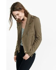 98$ and not red/maroon but still cute dark green knit moto jacket from EXPRESS