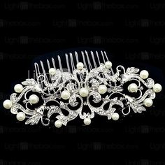10.7cm Dossy Women Wedding Party Flower Girl Flower Comb with Rhinestone and Imitation Pearl - USD $9.99