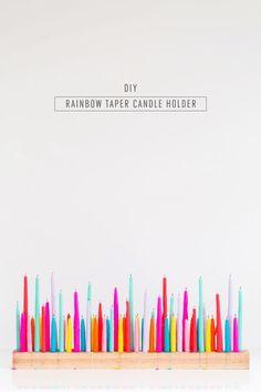 Rainbow DIY Taper Candle Holder | Sugar & Cloth