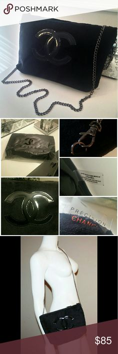 """CHANEL PRECISION VIP crossbody velour bag clutch Hi ladies this is a NEW authentic CHANEL VIP precision soft velour crossbody with detachable gunmetal chain, zip closure and patent leather logo, can also be used as a clutch. Perfect enough for your phone to fit the inside pocket, plus makeup and keys. It comes wrapped in the original plastic you see in the picture. Width 11"""", length 7"""" and depth 2.5"""". This is made for Chanel customers. SORRY NO TRADES. CHANEL Bags Crossbody Bags"""