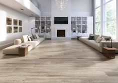 Cleveland Roble 9 x 48 Porcelain Wood Look Tile Wood Tiles Design, Wood Like Tile, Grey Wood Tile, Wood Tile Kitchen, Wood Floor Bathroom, Grey Wood Floors, Living Room Wood Floor, Wood Tile Floors, Grey Flooring