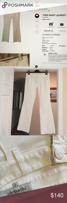 Yves Saint Laurent pants White, size F36, made in Italy, 98% Cotton/2% Elastane, stretchy, worn in good condition (no stains) Yves Saint Laurent Pants Boot Cut & Flare