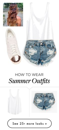 """Casual Summer Day Outfit"" by saigonpalace on Polyvore featuring H&M, One Teaspoon and adidas"