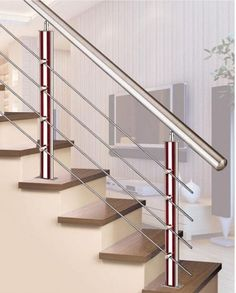 67 Sensational Stair Railing Ideas - Home Decorating Inspiration Wooden Staircase Railing, Exterior Stair Railing, Modern Stair Railing, Modern Stairs, Staircase Design, Stair Treads, Glass Stair Railing, Steel Railing Design, Balcony Railing Design