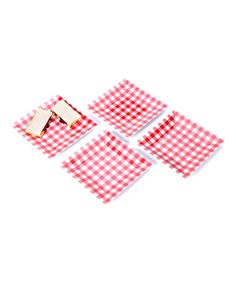 Retro Picnic Time! Take a look at this Red Gingham Plate - Set of Four by Design Imports on #zulily today! $9 !!