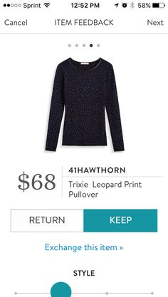 Trixie Leopard Print Pullover y 41 Hawthorn. This is Navy with black leopard print. Love the faux leather trim, the length of the body and sleeves and the extremely soft  light sweater knit. Received in Fix #38. KEPT. Price $68, with keep all discount $51.