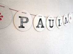 Individual+letters+to+be+strung+on+red+white+cord. Each+letter+is+stamped+by+hand.+  A+beautiful+decoration+for++bedrooms,+study,+lounge+room,+part