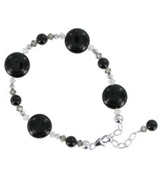 Plus Size SCBR204  Black Onyx crystal .925 Sterling Silver 6.5