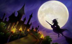 Halloween Witch On Broom Wallpaper