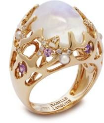 Pierre de lune, améthystes, perles, diamants sur or jaune. Moonstone, amethysts, pearls, diamonds on gold. #iletoiledemer