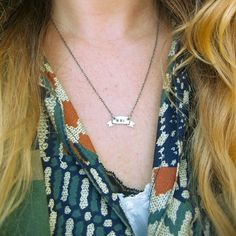 Tiny banner initial necklace by LaurelHill on Etsy, $66.00