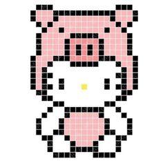 Pig Hello Kitty Perler Bead Pattern