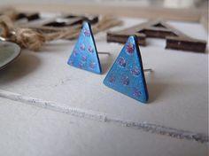 Triangle metallic blue by Martinuska - SAShE.sk - Handmade Náušnice