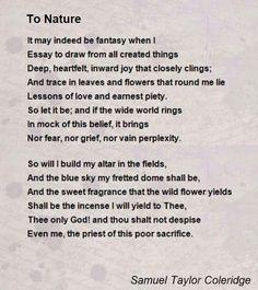 Samuel Taylor Coleridge Poems | To Nature Poem by Samuel Taylor Coleridge - Poem Hunter Comments