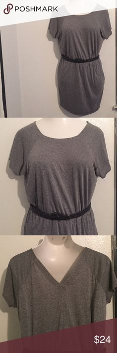 Calvin Klein gray dress size medium Has pockets. Stretchy material. Belt not included Calvin Klein Dresses Mini