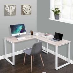 Home Office Space, Home Office Furniture, Home Office Desks Ideas, Corner Office Desk, Office Table, Desk Ideas, Table Desk, Contemporary Office Desk, L Shaped Executive Desk