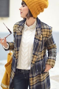 // yellow plaid coat