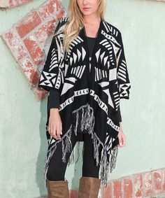 Another great find on #zulily! Black & White Geometric Poncho #zulilyfinds