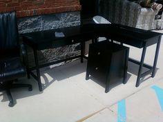 L-shaped black desk & filing cabinet by newleafgalleries, via Flickr